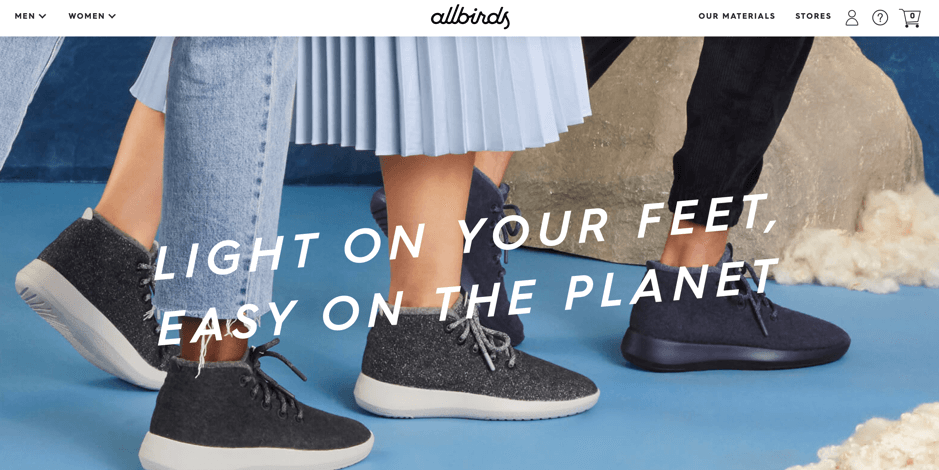 Allbirds store front page