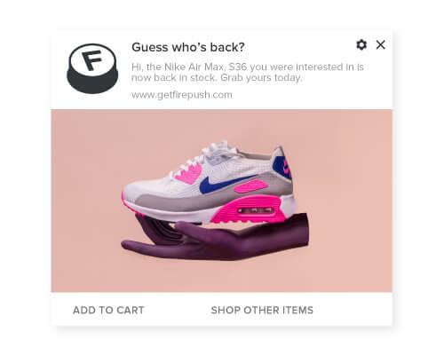 Firepush back in stock push notification example