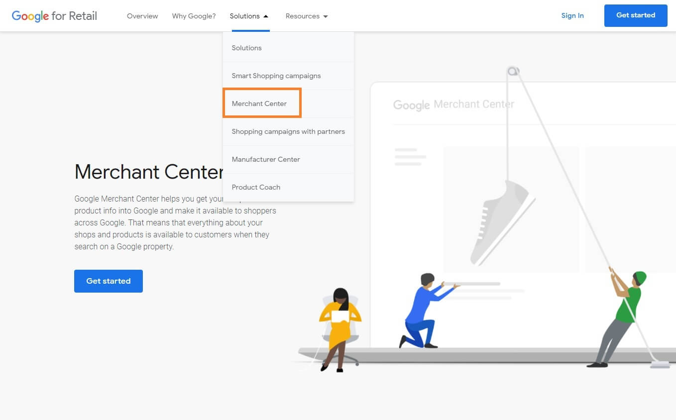 Creating a google merchant centre account example