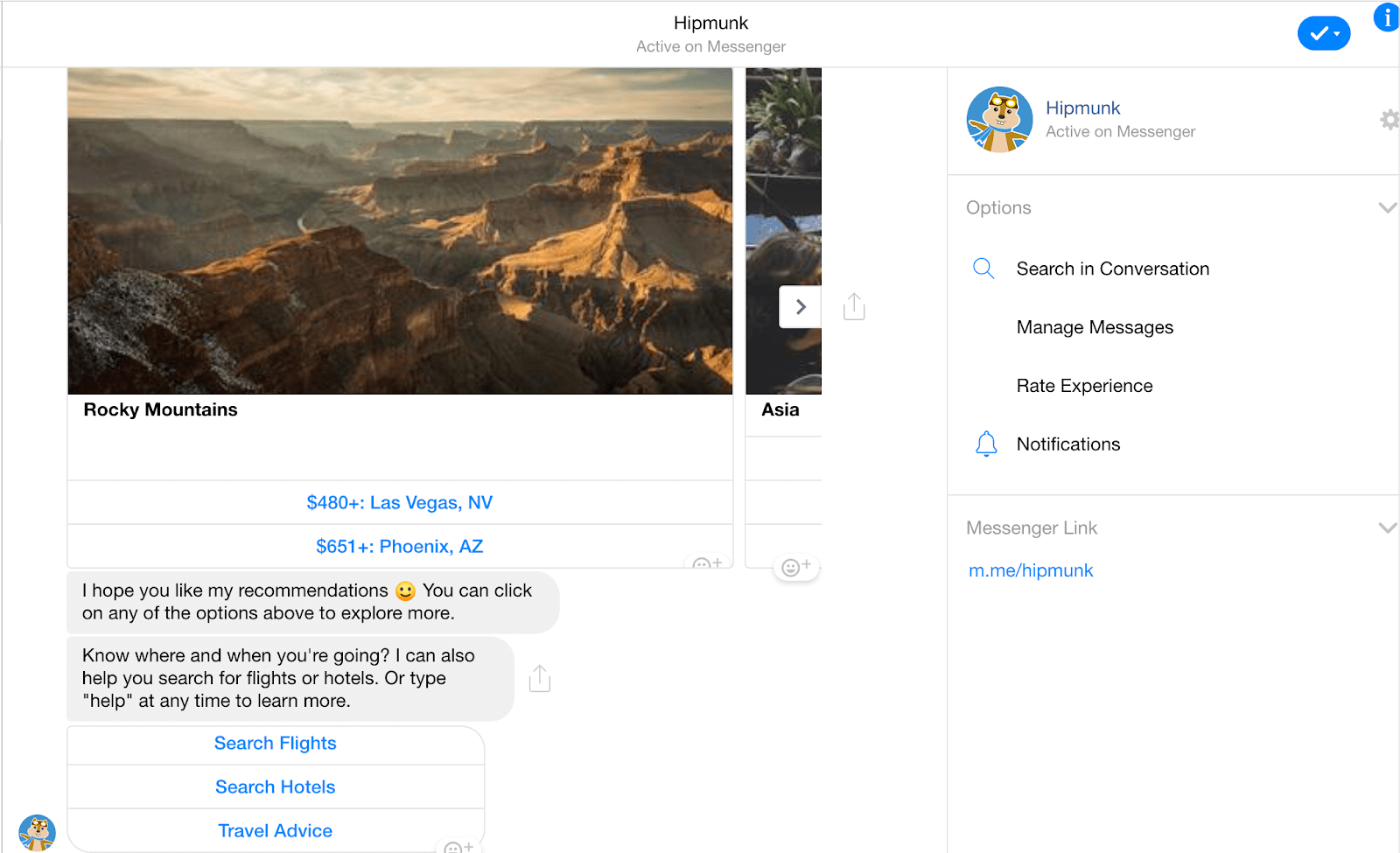 Facebook chat bot ask location