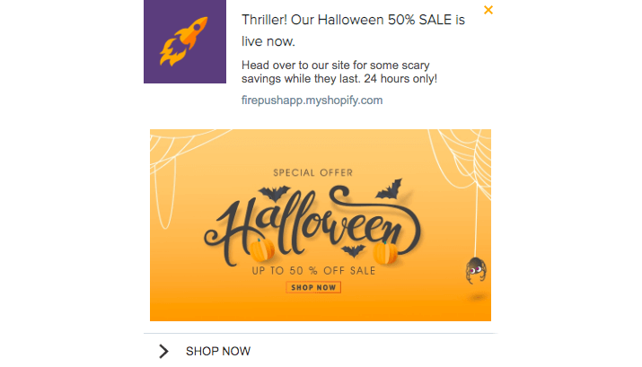 Firepush halloween sale example