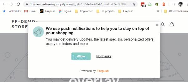 Firepush Web Push Notification Welcome Push pop-up