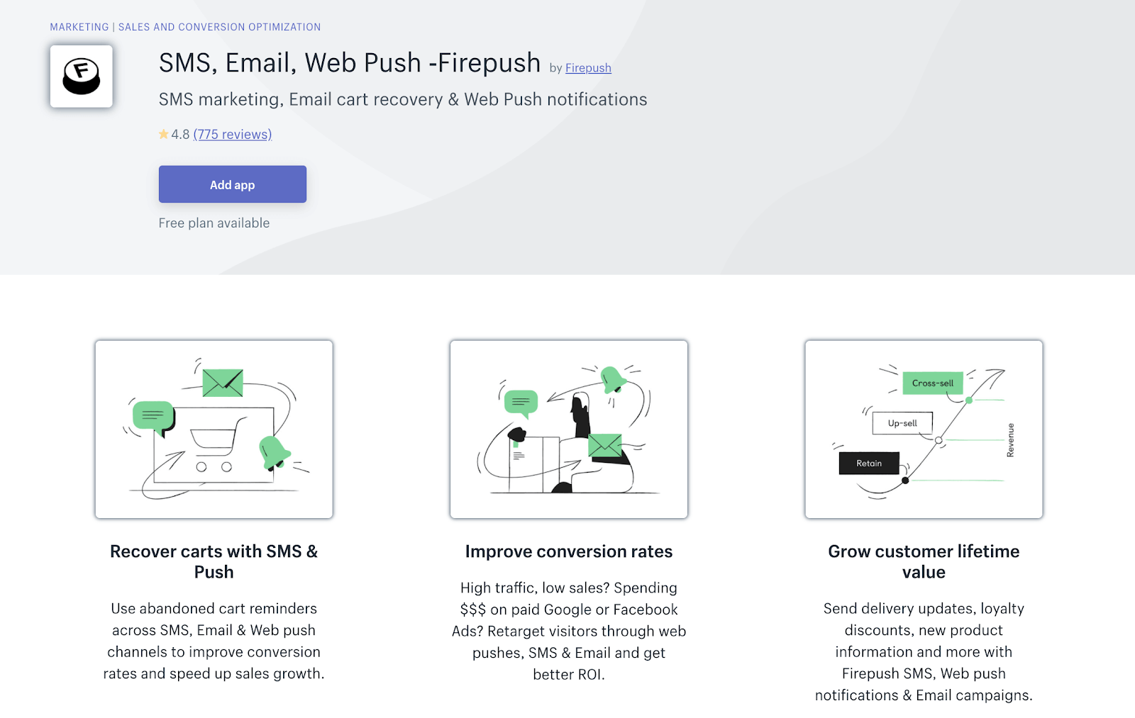 Firepush email, web push and SMS retargeting in one application