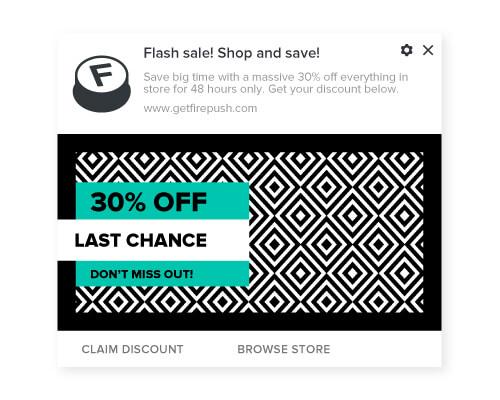 Firepush promotional push notification example