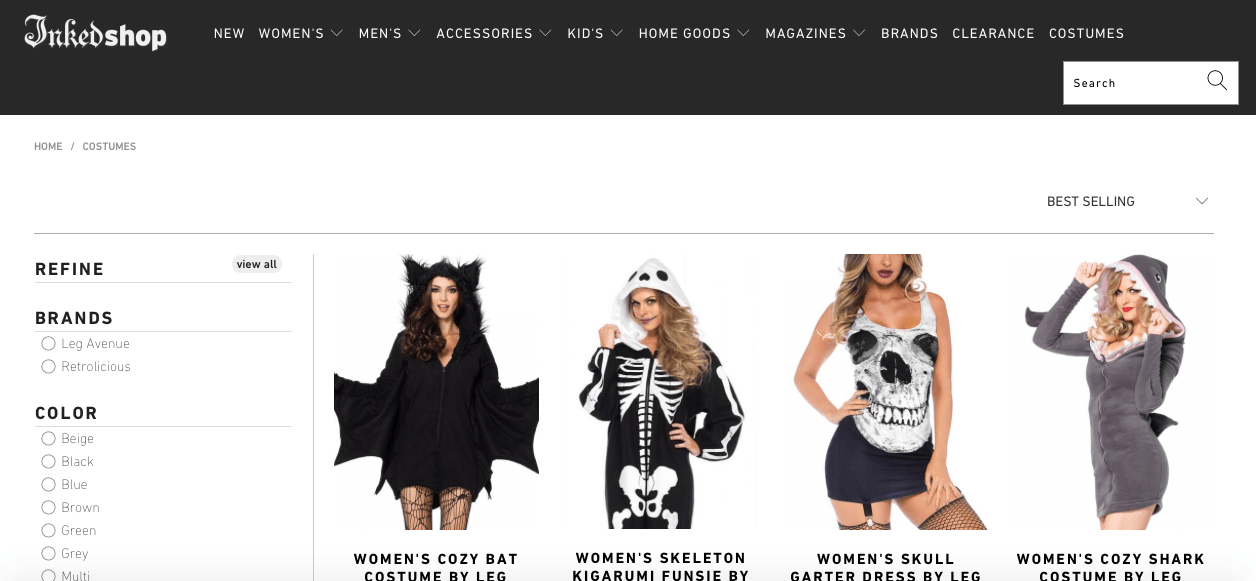 Inkedshop shopify halloween costumes collection