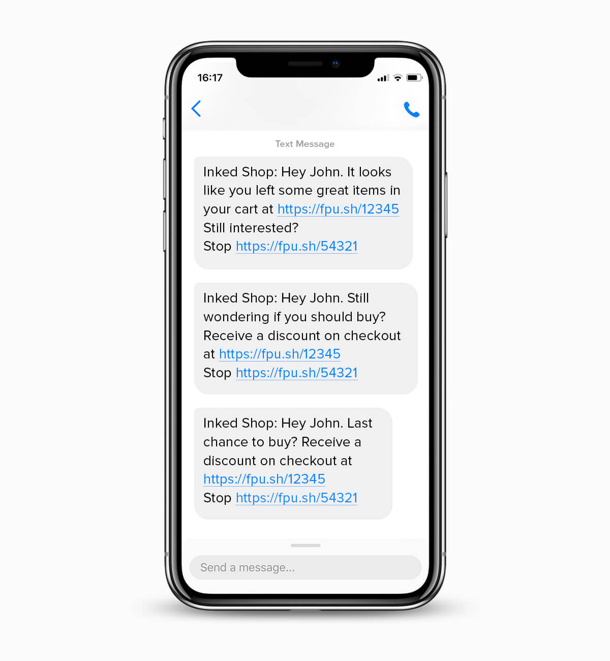 Inkedshop's abandoned cart SMS messages