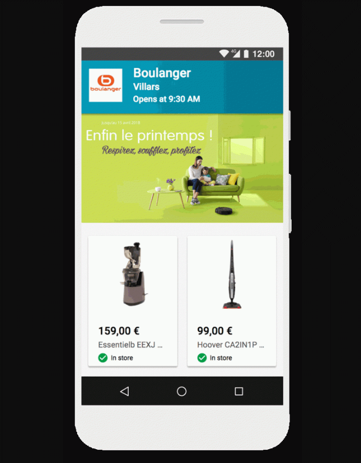 Boulanger store products page in mobile device