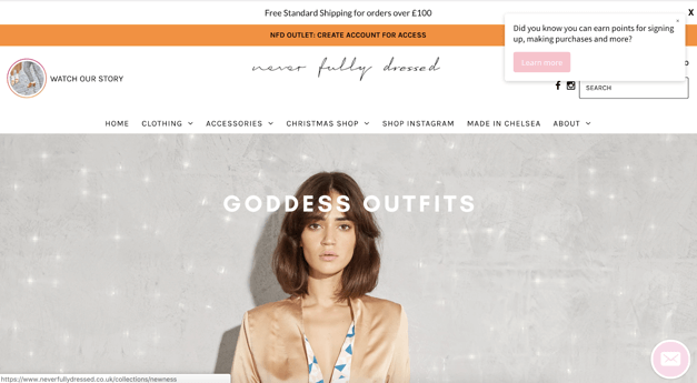 Never Fully Dressed store front web push pop-up