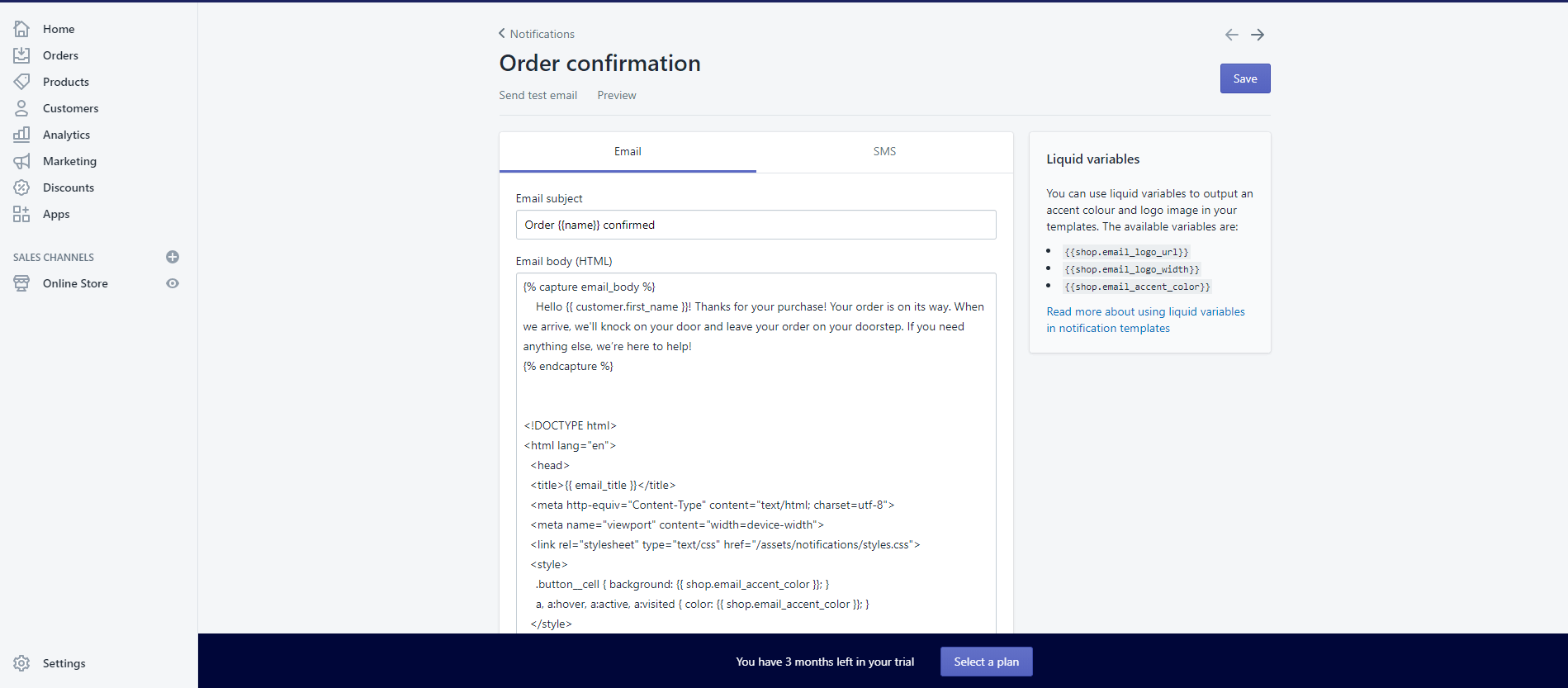 New text in shopify order confirmation notification