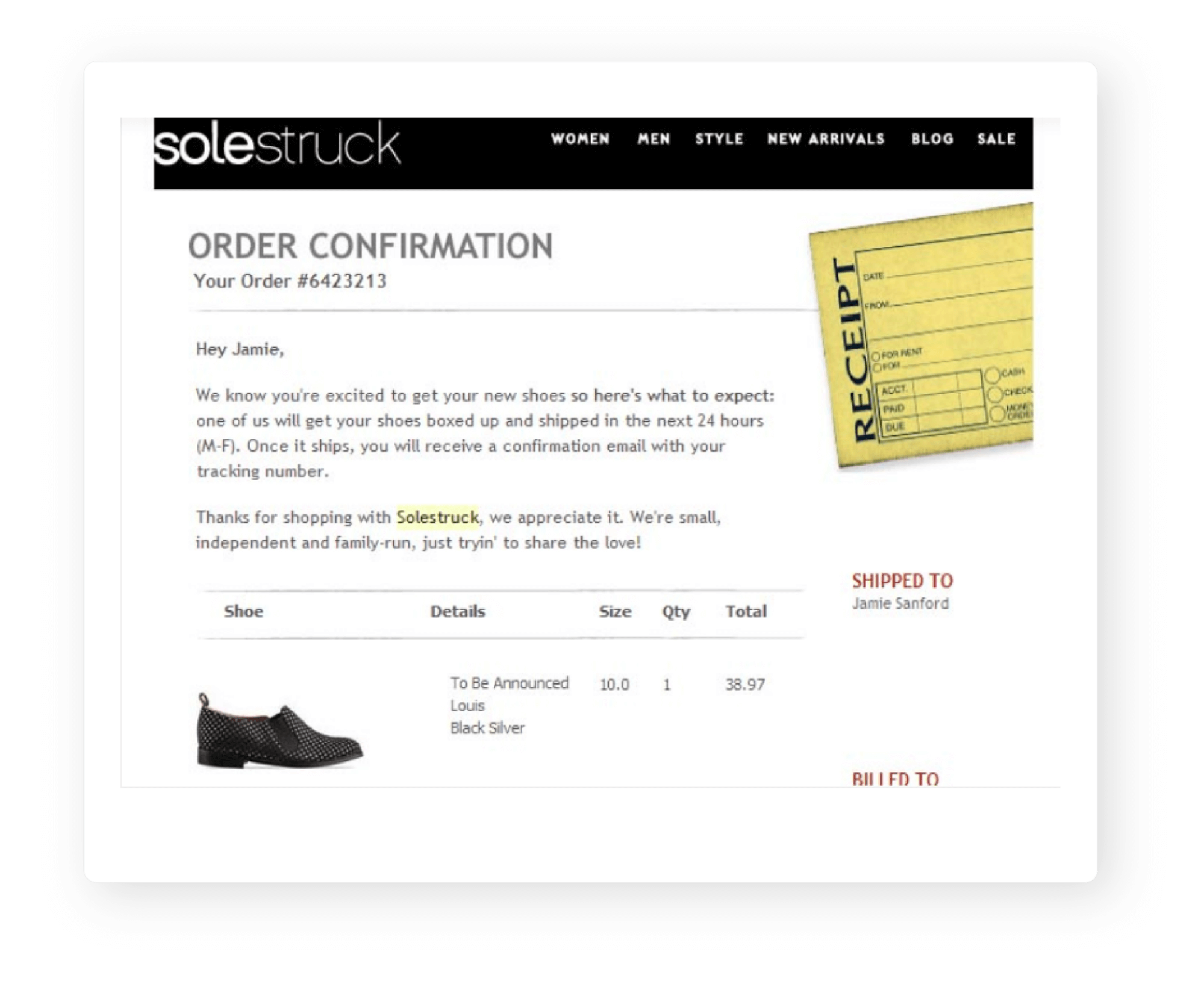 Order Confirmation Email by Solestruck