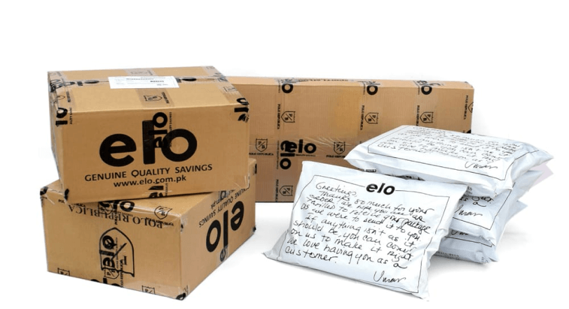 Brown and white packages