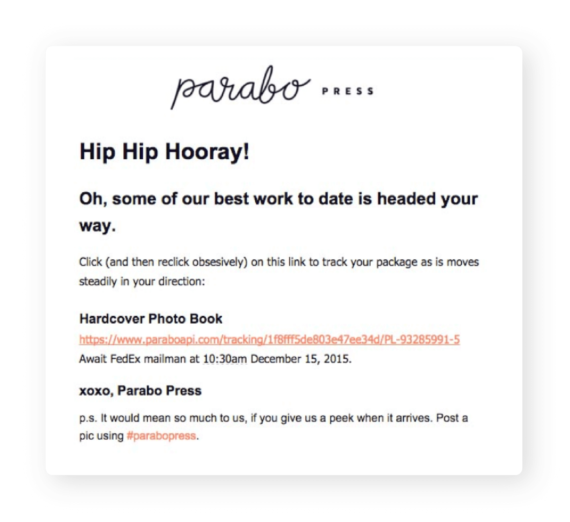 Parabo's Order Confirmation Email with Tracking Info URL