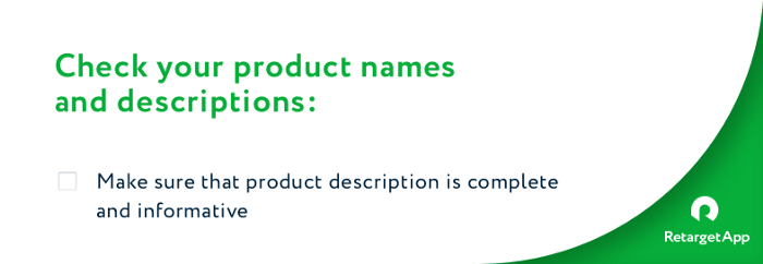 Check product title and description