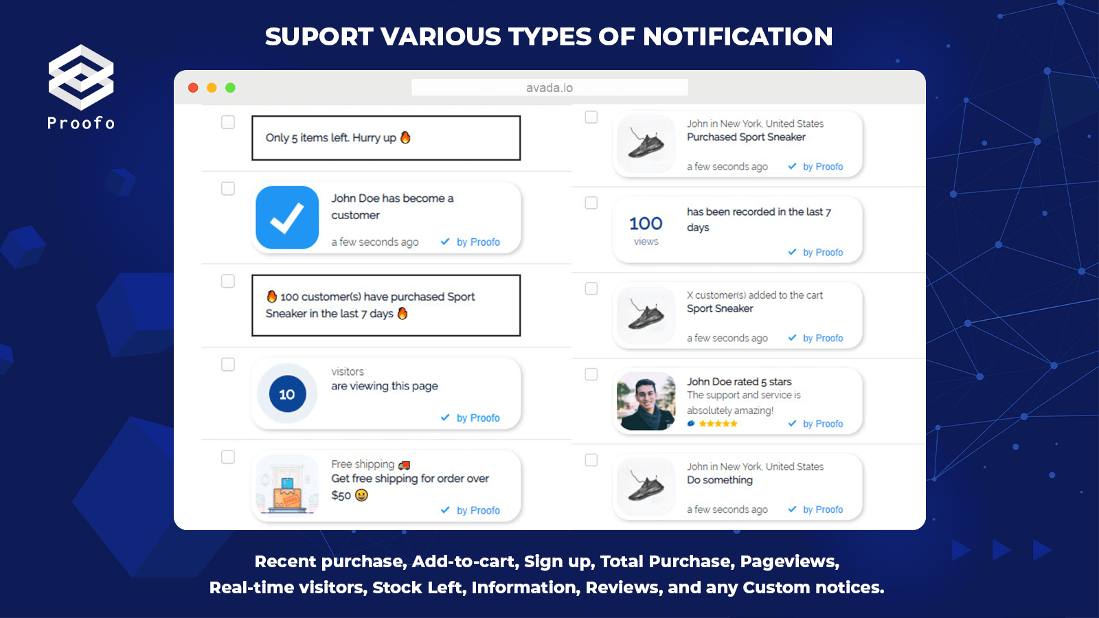 Social Proof application pop-up, notification features