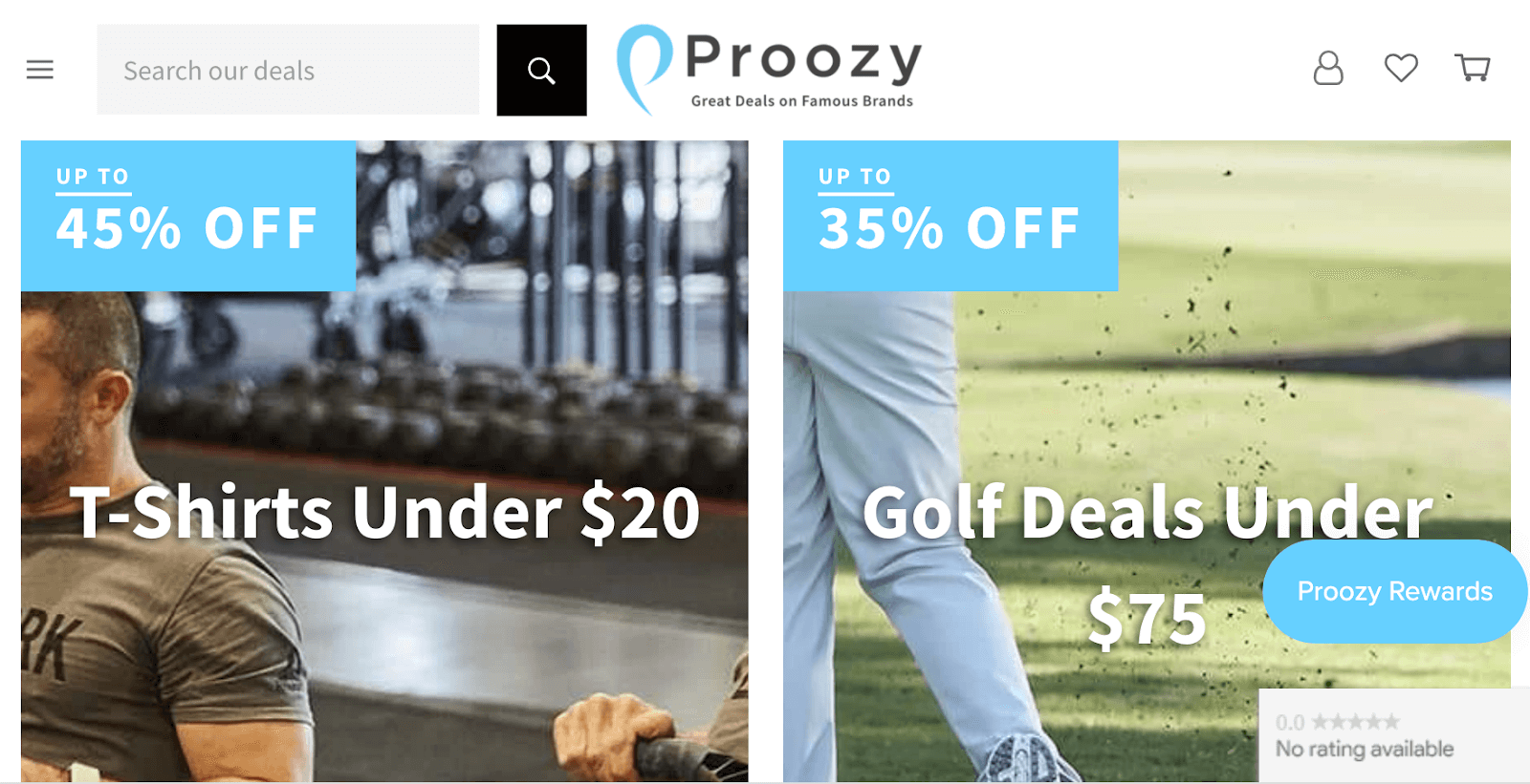 Shopify store Proozy products and discounts