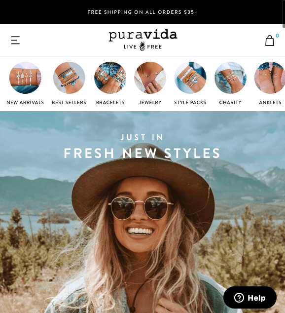 Puravida offer free shipping over 35$