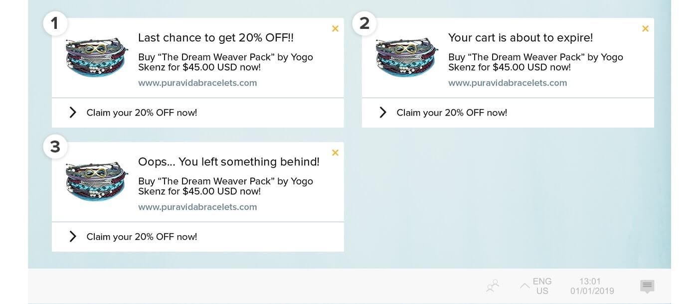 Pura Vida 3 different abandoned cart notifications