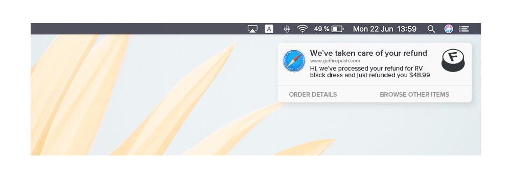 Firepush refund push notification example
