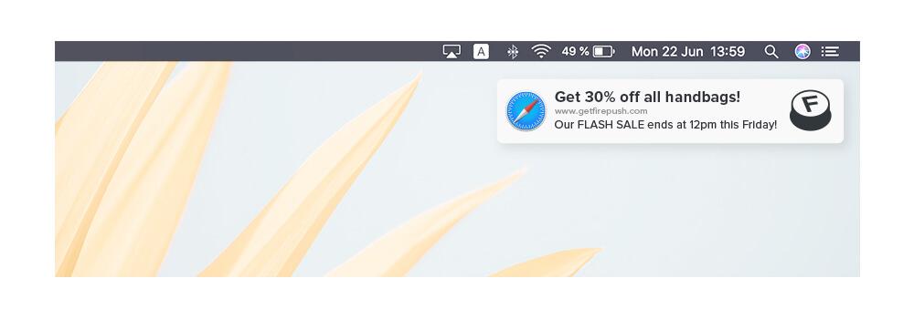 Web push notification example using MAC Safari browser
