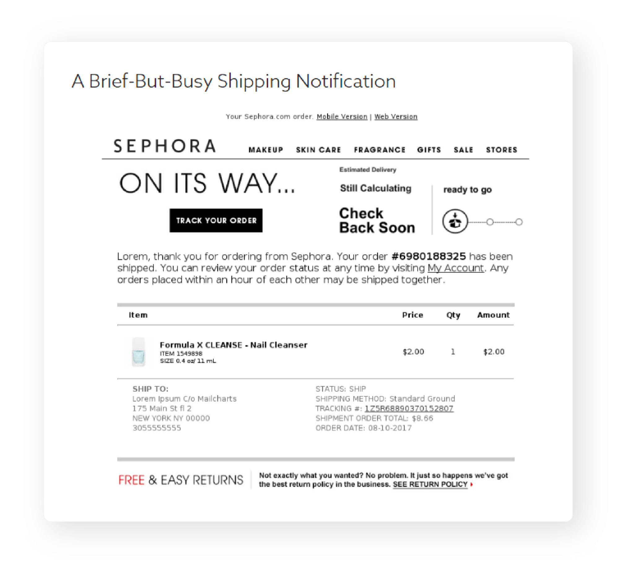 Shipping Notification Email by Sephora