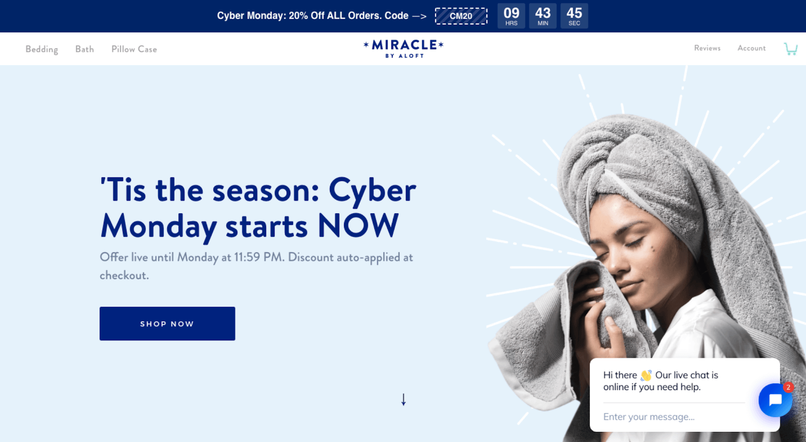 Shopify store Miracle brand discount code example