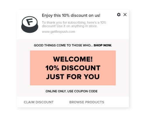 Firepush welcome push notification with discount code visual