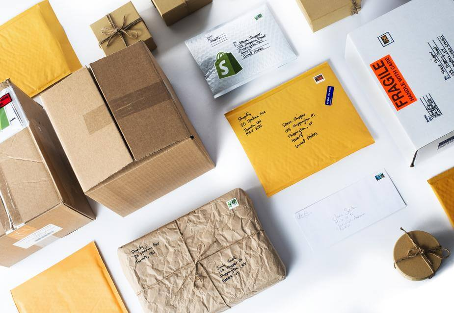 Brown packages on white table