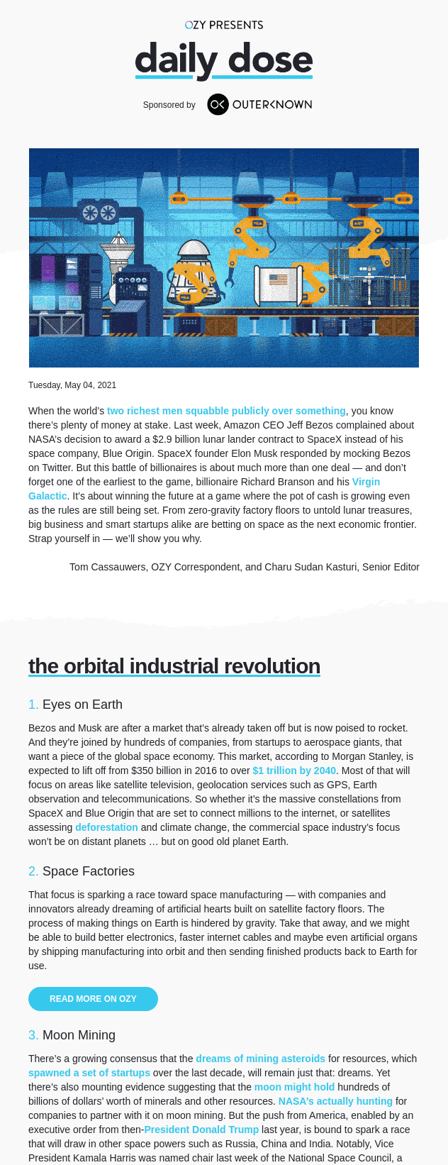 An example of a newsletter linking to several related resources