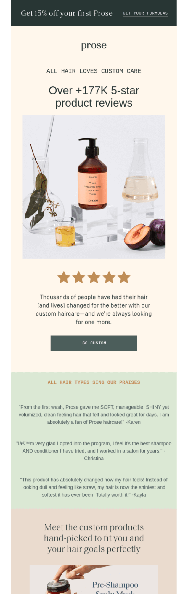 Customer reviews in the promo email