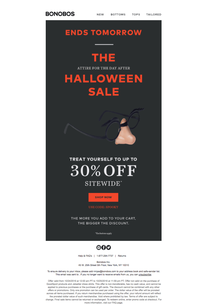 Halloween sale example with nose and glasses visual