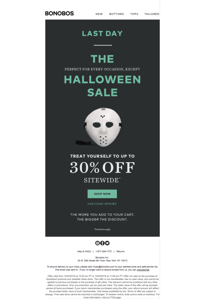 Halloween sale example with scary mask visual