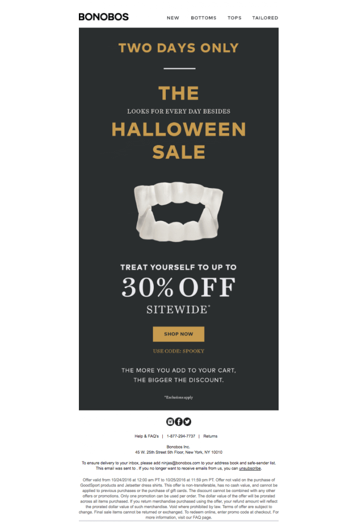 Halloween sale example with scary teeth visual