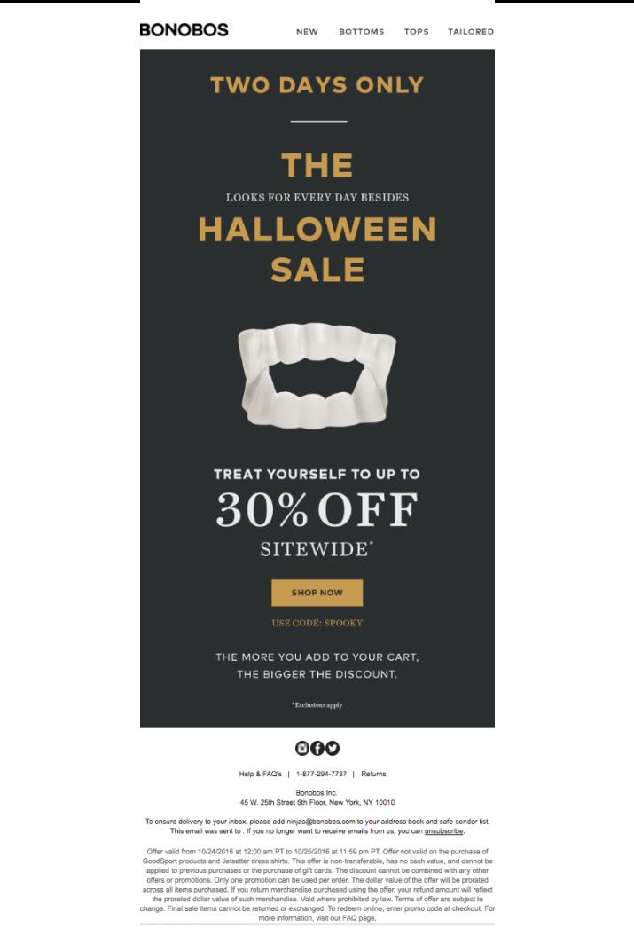 Halloween sale example with scary teeth visual