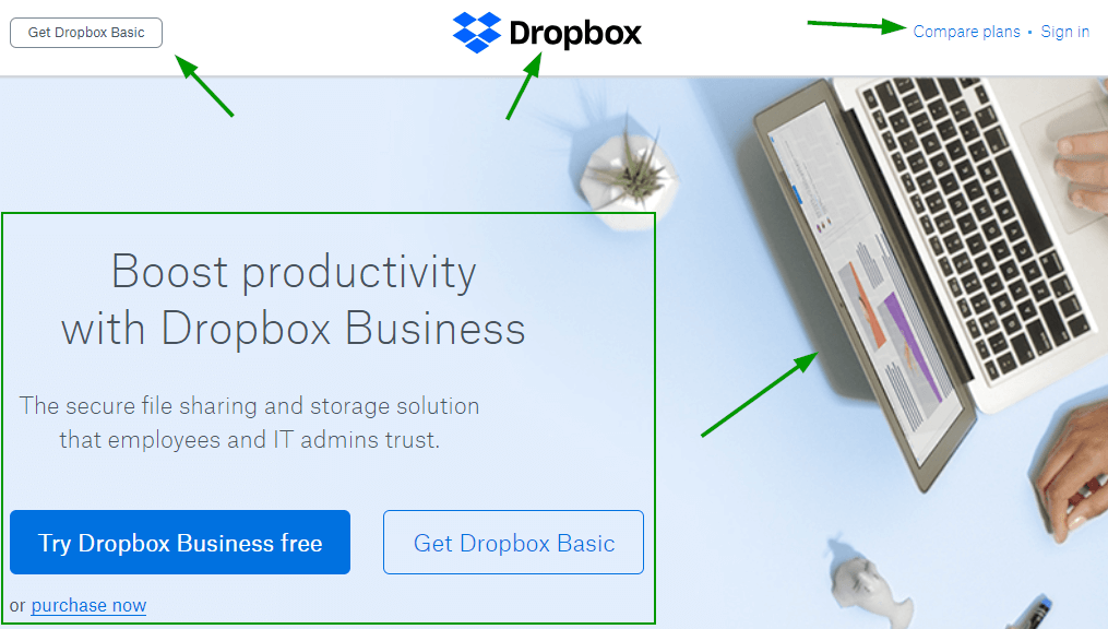 Dropbox optimized section