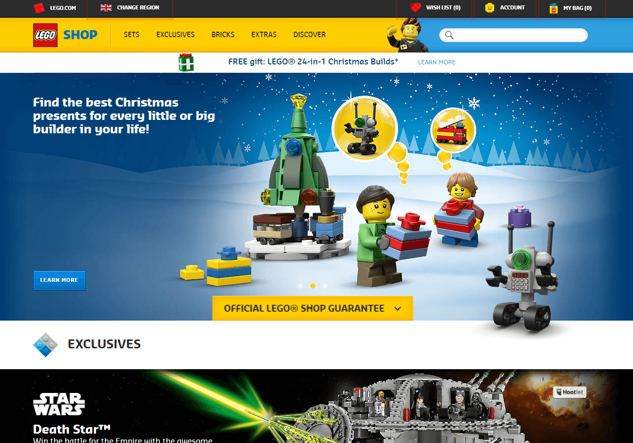 Lego advertising at holiday christmas season