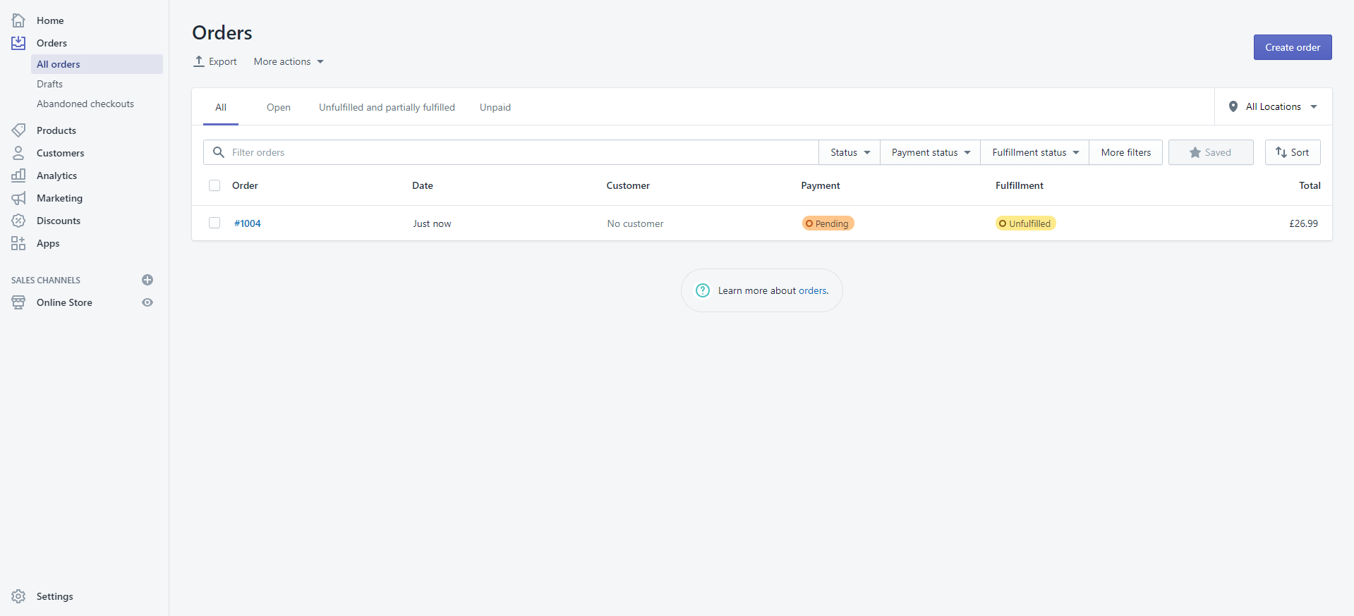Shopify first order