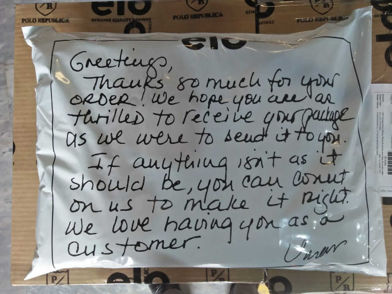 Package with hand written message