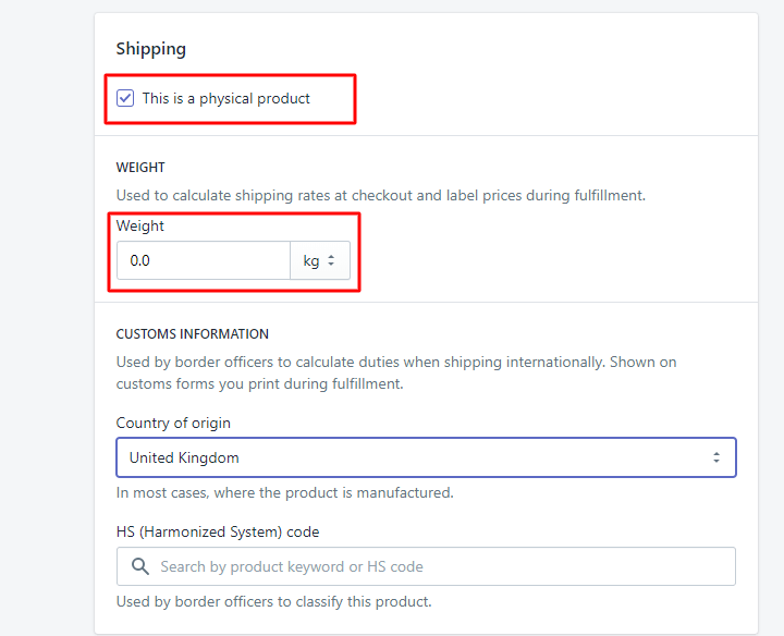 Product shipping and weight settings