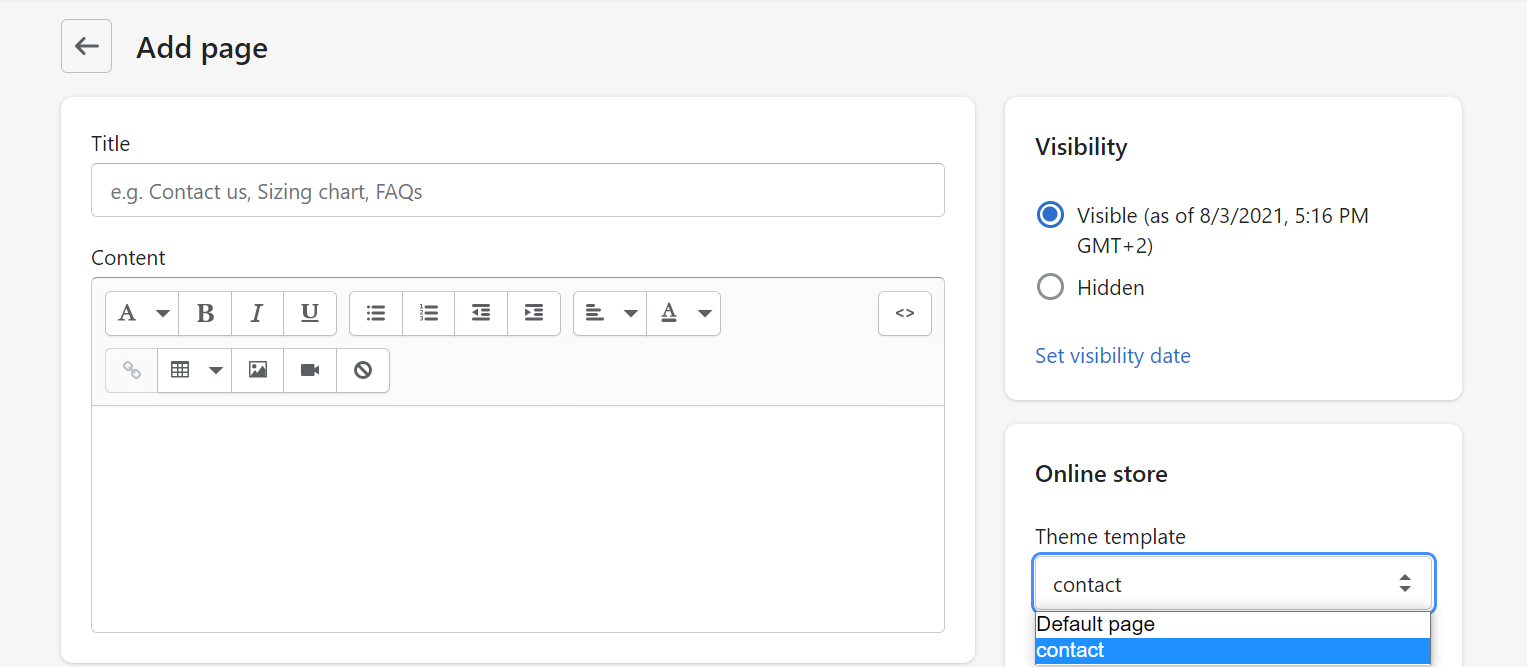 Shopify pages editor