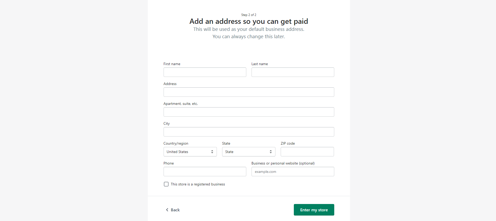 Step two of the Shopify account registration processes