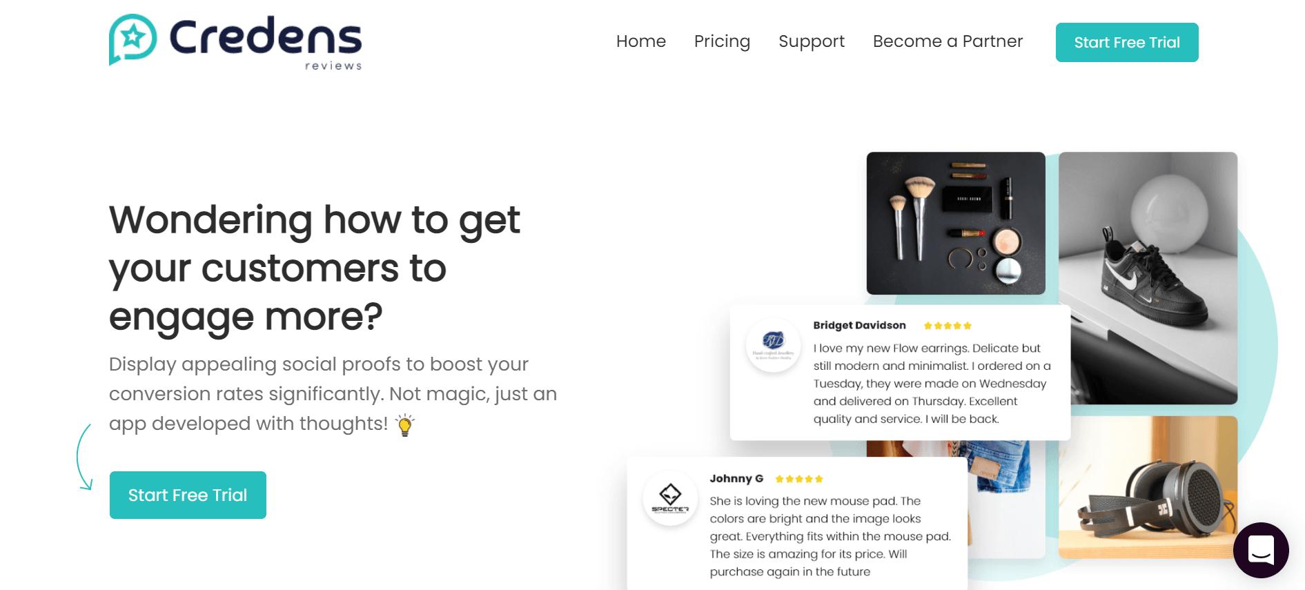 Credens app website above the fold