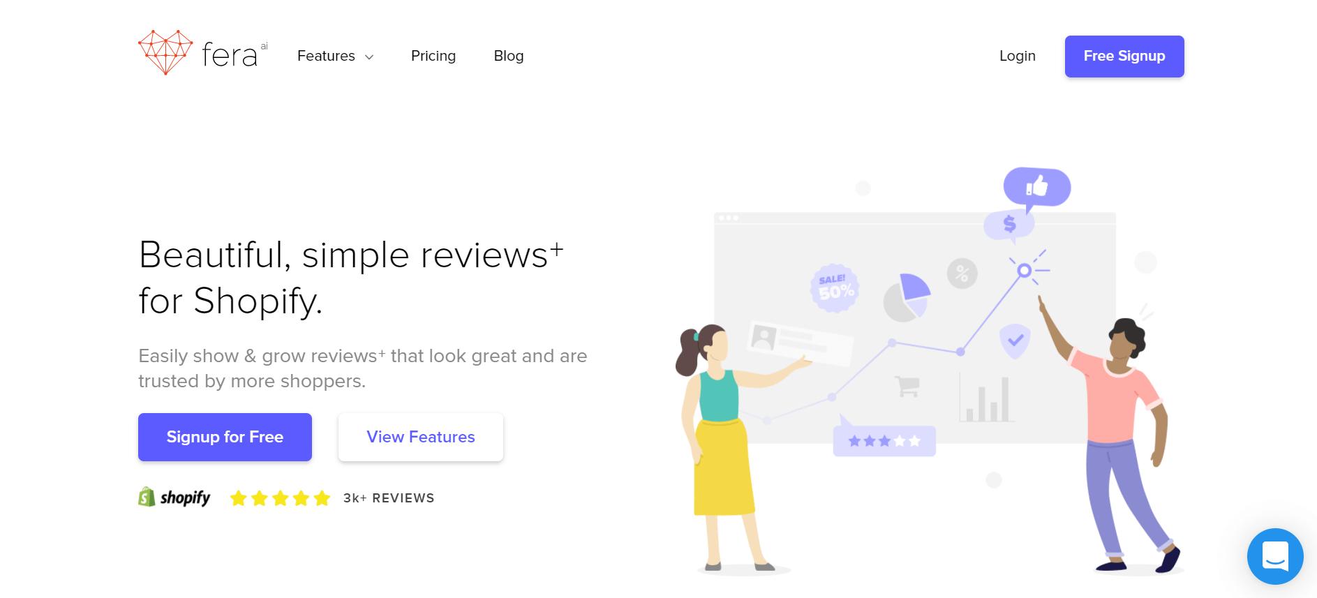 Fera app website above the fold