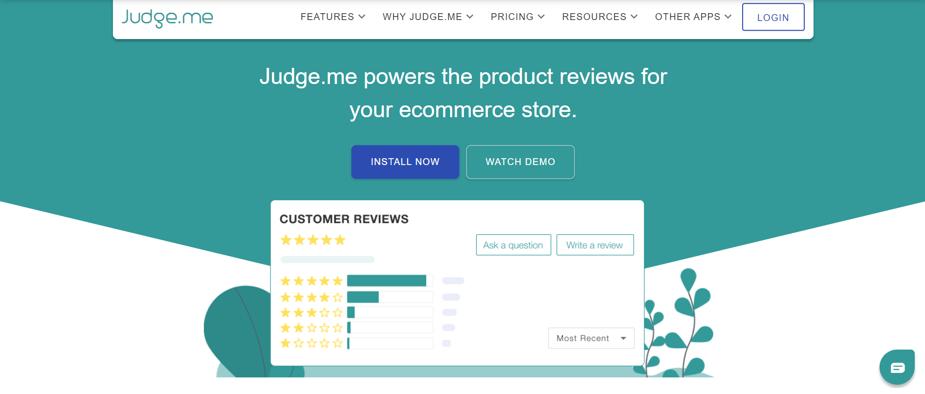Judge.me app website above the fold