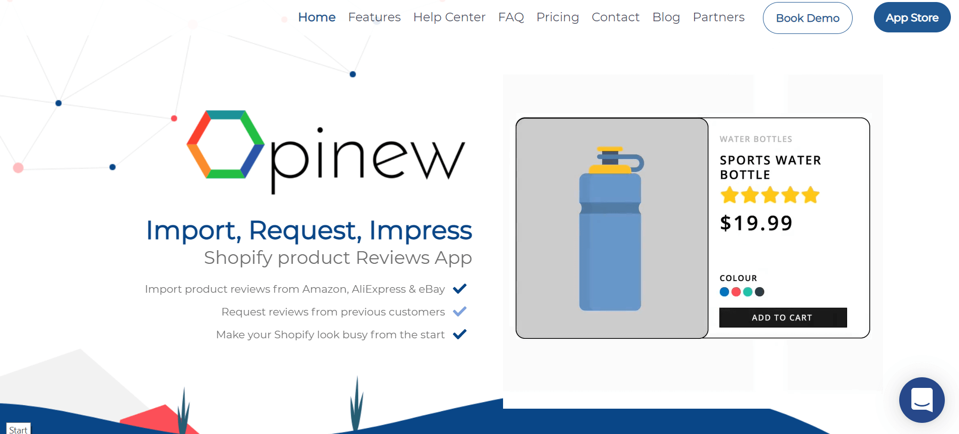 Opinew app website above the fold