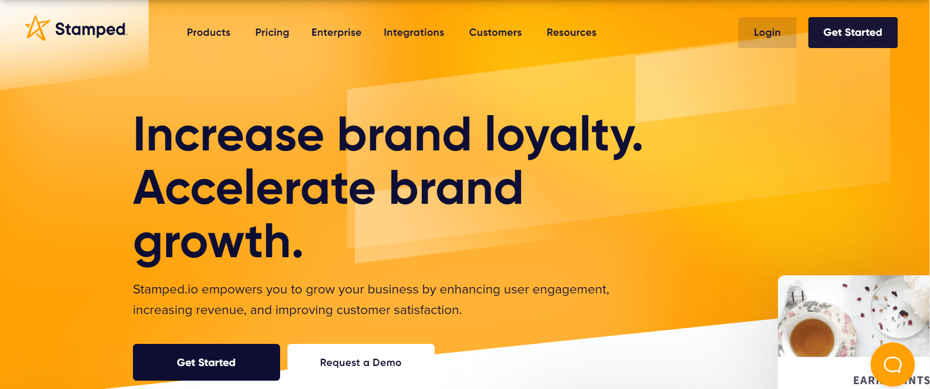 Stamped.io app website above the fold