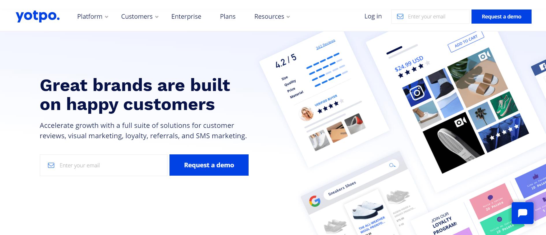 Yotpo app website above the fold