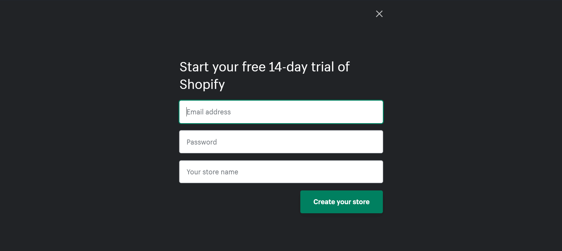 Shopify sign-up form