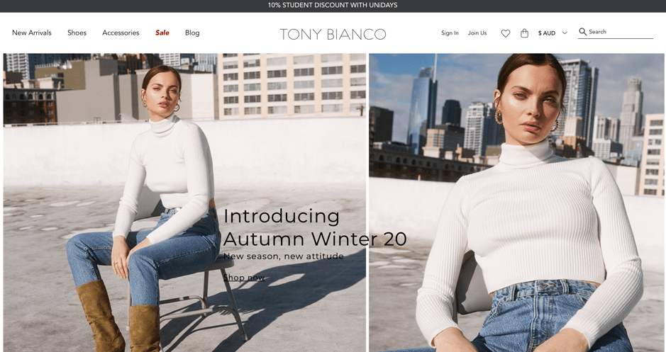 Tony Bianco store front for desktop devices