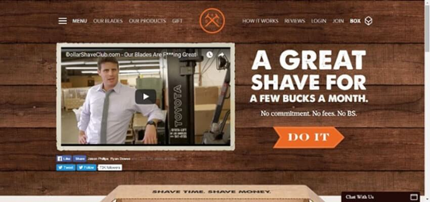 5$ Shave club landing page
